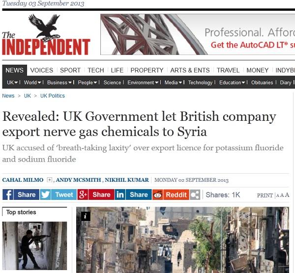 Armas Químicas en Siria son el mismo Fluoruro de Sodio vertido en agua de Estados Unidos